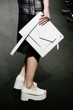 White envelope clutch bag, contemporary chic style // Low Classic