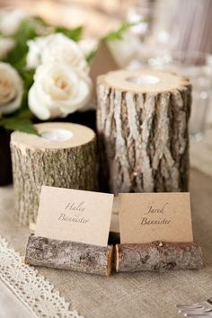 Rustic wedding centerpieces Tree stump with tea light sunk into it. I love the place card holders. Rustic Wedding Centerpieces, Wedding Table, Fall Wedding, Our Wedding, Dream Wedding, Wedding Decorations, Wooden Centerpieces, Cabin Wedding, Rustic Weddings