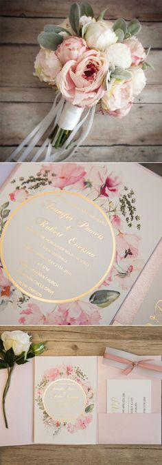 Pink and Gold Glitter Pocket Wedding Invitations with Watercolor Flowers EWPI209 #pinkwedding #floralweddinginvitations
