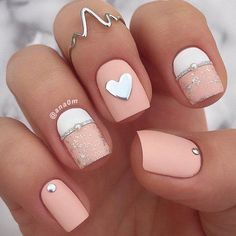 Matte colors may look bored but this way combined with a brilliant rhinestone look great and elegant. #nails #nailart