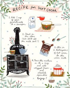 We have some rain in Perth today and it feels much cooler. Must be time for a ho. - We have some rain in Perth today and it feels much cooler. Must be time for a hot cocoa 〰️ - Winter Christmas, Christmas Time, Xmas, Planner Stickers, Illustration Inspiration, Flora, Food Illustrations, Merry And Bright, Food Art