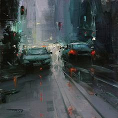 """Main Street"" by Tibor Nagy is a dramatic oil in a relatively small  8 x 8 painting."