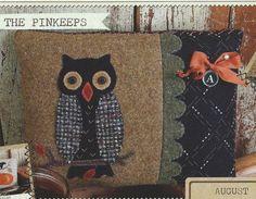 Primitive Folk Art Wool Applique Pinkeep by PrimFolkArtShop, on Etsy