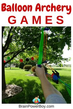 Balloon Archery Games – Brain Power Boy String up some balloons! It is time for some Balloon Archery Games. Archery Party, Archery Games, Archery Tips, Outdoor Activities For Kids, Games For Kids, Fun Activities, Fun Games, Kids Fun, Archery For Kids