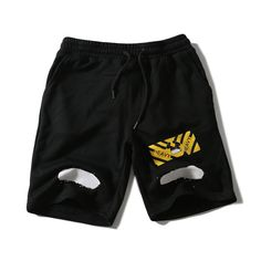 2017 Summer Style High Quality Off White Shorts Casual Sportswear Shorts Knee Length Zebra Striped Print Shorts Beach Shorts