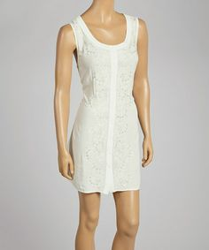 Love this Ivory Embellished Scoop Neck Dress by Anuna on #zulily! #zulilyfinds