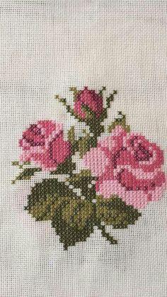 pattern / chart for cross stitch, knitting, knotting, beadi Ribbon Embroidery, Cross Stitch Embroidery, Embroidery Patterns, Cross Stitch Rose, Cross Stitch Flowers, Cross Stitch Designs, Cross Stitch Patterns, Bargello, Cross Stitching
