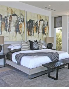 13 Bedrooms to Inspire you, classic upholstered bed with dramatic artwork. blognblogs.com