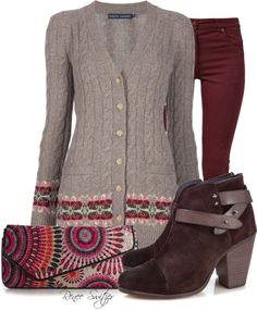 """Ralph Lauren Cardigan"" by renee-switzer ❤ liked on Polyvore"