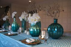 Party Planner Doris Dwek's Impressive Turquoise and Gold Hanukka Table