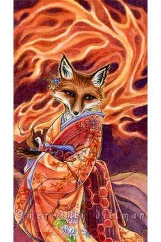 Japanese Kitsune Fox Art print  Foxfire limited by meredithdillman, $15.00