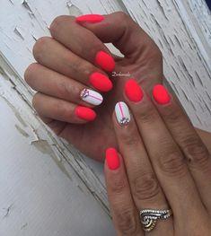 Neon Coral Nails, Disney Nails, Mani Pedi, Short Nails, Summer Nails, Simple Designs, Nail Designs, Make Up, Nail Art