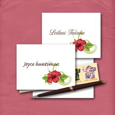 Hibiscus Note Cards with Customized Name by sferradesigns on Etsy