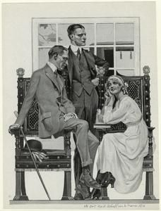 [Men and a woman lounging in chairs, 1910s.]