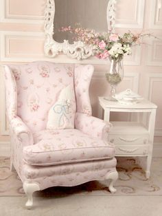 I love - love - love this!!  have a chair (not wingbacked) some what similar feet  arms ~ will have to look for similar fabric to recover it  find a little side table    Simply beautiful