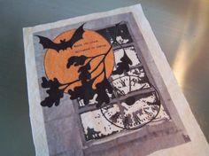 Halloween fabric panel handmade muslin spooky moon bat by iwathd09, $10.00