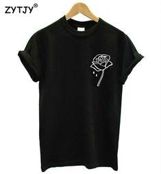 Flor color de rosa de impresión de bolsillo de las mujeres camiseta de  algodón casual camiseta 5872ab062b8c0