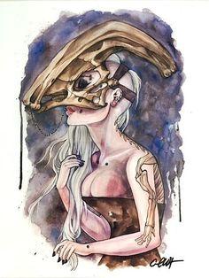 Parasaurolophus Dinosaur Skull Mask Print