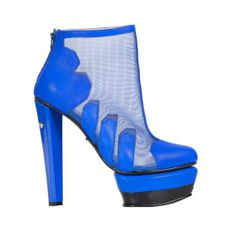 Carry Me | 【SASSIE】 HEELS WITH CONTRAST PLATFORM-BLUE $250 High heel with gauze exposed in many fashion magazines  Reverse zip fastening and pull-on design  Upper with many Carry Me diamond-heart shape  Carry Me diamond-heart heel  Sole and heel with Carry Me diamond-heart logo  Thicker and contrast platform  Almond toe with Carry Me diamond-heart shape Upper: 100% Real leather Lining: 100% Real leather Sole: 100% Rubber Heel: 14.5cm Platform: 4.5cm