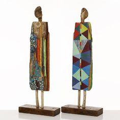 Armelle Frisa-Turonnet - Jeunes filles, papiers collés sur bois