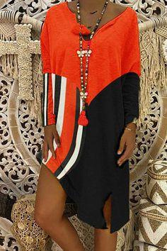 V-neck striped stitching T-shirt dress #striped, #AFFILIATE, #neck, #stitching, #dress #Adver