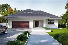 Projekt domu Goran 3 Cottage House Plans, Dream House Plans, Morrocan House, One Storey House, Affordable House Plans, Modern Bungalow House, Driveway Design, Beautiful House Plans, House Viewing