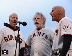 Tom Flannery, Bob Weir and Tim Flannery  sing national anthem (Greatful Dead)