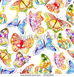 Abstract Seamless Watercolor Butterfly Pattern. Hand Drawn Illustration. - stock vector