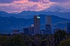 Denver, Colorado, with the Rocky Mountains in the back.