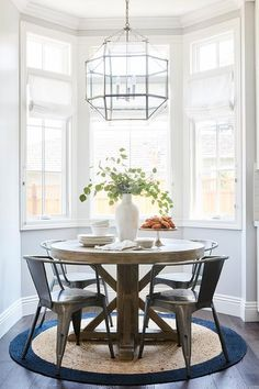 Small Round Dining Room Table New Round Wood Dining Table On Round Jute Rug Transitional Dining Nook, Dining Room Table, Dining Chairs, Dining Furniture, Dining Set, Room Chairs, Small Dining Rooms, Kitchen Nook Table, Plywood Furniture