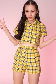 mtb8 cathybob2000 Image of Made To Order - Katie Yellow Tartan Top & Shorts Set