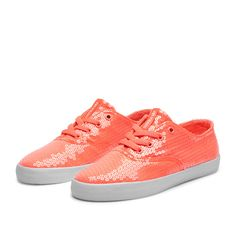 coral sequin sneakers