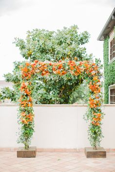 Orange and Green Floral Wedding Arch
