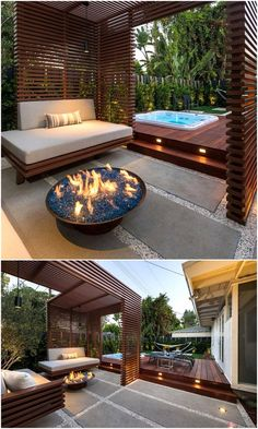 Let's have a wonderful romantic time at the dashing styling of this pergola deck idea. Show your love to your beloved one by arranging such a fascinating atmosphere in your space with this heart winning designing. A side hot tub and the fireplace both are complementing this decoration beautifully.