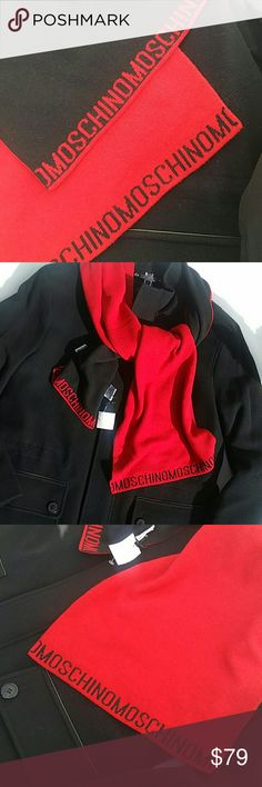 """Moschino Reversible Wool/Cashmere Blend Scarf Brand New Gorgeous 100% Authentic Black & Red Unisex Scarf 40% Laine Wool 30% Viscose 20% Polyamide 10% Cashmere  72""""x12"""" Moschino Accessories Scarves"""