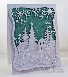 11/10/14.  KittieKraft:   Frostyville Framed Snow Scene.