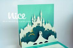 FOREST FAIRY laser cut pop up wedding invitation /  nice-wedding-cards.com