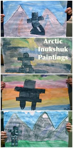 Arctic Multicultural Art Project: Inukshuk Paintings from the Inuit. Learn about the Inuit, why and how they built the stone structures, and then make your own. Art Lessons For Kids, Projects For Kids, Art Projects, Aboriginal Art For Kids, Inuit People, Haida Art, Inuit Art, Canadian Art, Canadian History