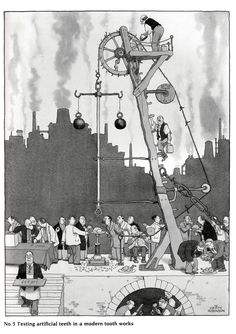 Photograph-Testing teeth, illustration by William Heath Robinson-Photograph printed in the USA Fine Art Prints, Framed Prints, Canvas Prints, Illustrations, Illustration Art, Heath Robinson, Vintage Magazine, Ohh Deer, Layout