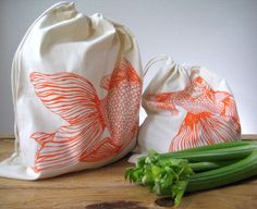 Reusable Cotton Produce Bags - Screen Printed Natural Cotton Produce Bags - Reusable and Washable - Eco Friendly - Grocery Bags - Goldfish by ohlittlerabbit on Etsy https://www.etsy.com/listing/116578998/reusable-cotton-produce-bags-screen