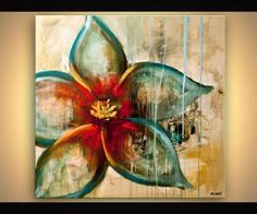 Original Contemporary Abstract Floral Painting Contemporary Acrylic Red Teal Gold Flower Painting on canvas by Osnat T. ready to hang Abstract Flower Art, Acrylic Painting Flowers, Canvas Painting Landscape, Flower Artwork, Acrylic Paintings, Flower Paintings, Decorative Paintings, Modern Paintings, Art Flowers