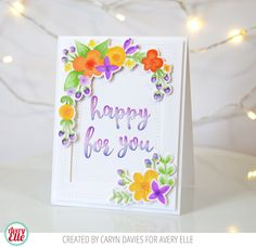 Caryn Davies for Avery Elle Wonky Stitches Dies A Tag For All Dies Floral Frame Clear Stamps