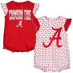 Alabama Crimson Tide Girls Newborn 2-Pack Bodysuit Set - Crimson