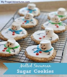 These will be cute additions to the cookie platter at Christmas time. Melted Snowman Cookies.