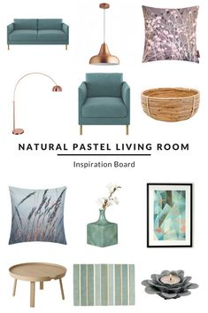 Soft and inviting tone created with teal blue sofa an - Pastel Living Room, Teal Living Rooms, Living Room Decor Colors, Living Room Color Schemes, My Living Room, Room Colors, Living Room Designs, Copper Living Room, Teal Sofa