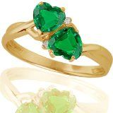 10k Yellow Gold Created Emerald and Diamond Heart Ring (.02 cttw, I-J Color, I1 Clarity) $137.00