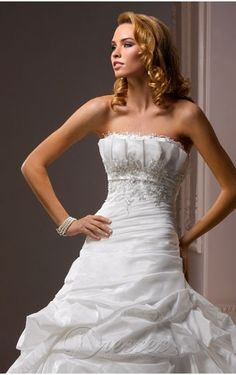 Luxurious White A-line Strapless Corset Closure Floor-length Wedding Dress Balloon Train With Beads 00097