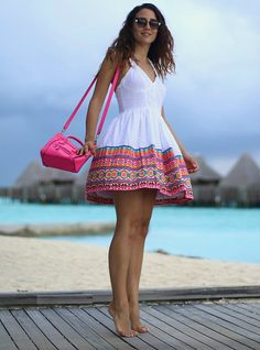 Tamara Kalinic - Fendi, Céline - Aztec Print in Maldives Ethiopian Traditional Dress, Traditional Dresses, Look Fashion, Fashion Outfits, Womens Fashion, Stylish Outfits, Cute Outfits, Ethiopian Dress, Honeymoon Outfits