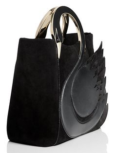 on pointe swan handle bag, black Birthday Wishlist, Black Swan, Out Of Style, Cow Leather, Body Shapes, Fashion Bags, Dust Bag, Kate Spade, Handle