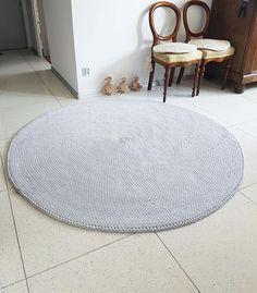 Handmade Chunky Gray Round Simple Modern Nursery Crochet Rug